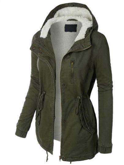 Hidden Button Zipper Pocket Hooded Plush Women's Jacket (With .