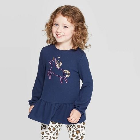 Toddler Girls' Unicorn Cozy Peplum Top - Cat & Jack™ Navy : Targ