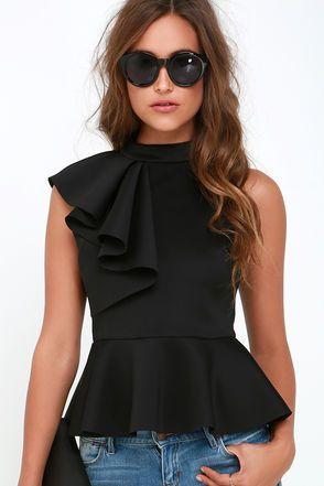Forever More Black Peplum Top | Fashion, Black peplum, Cloth