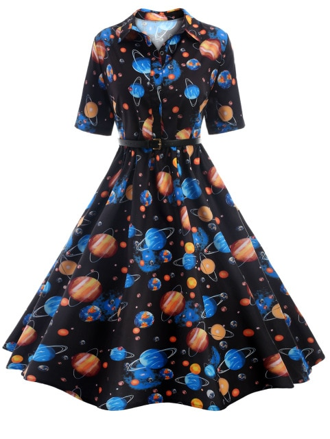 Kenancy Cosmos Planet Print Vintage Dress Women Short Sleeve 50s .