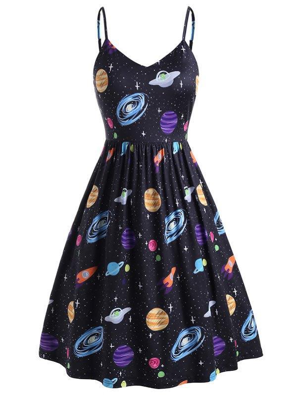37% OFF] Plus Size Planet Print Side Pocket Cami Dress | Roseg