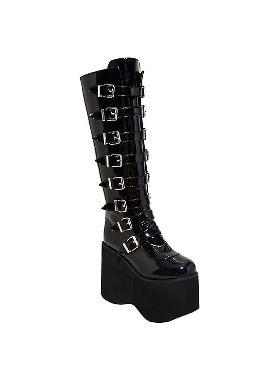 Patent Double Buckle Tall Platform Boo
