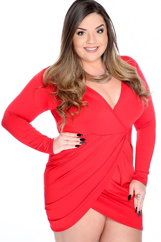 Sexy Red V-neck Long Sleeve Tulip Plus Size Club Dre