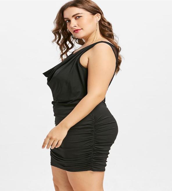 Lace Panel Plus Size Draped Club Dress   bestdress1.c