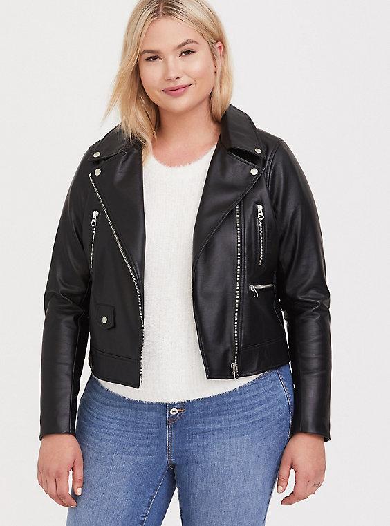 Plus Size - Black Faux Leather Moto Jacket - Torr