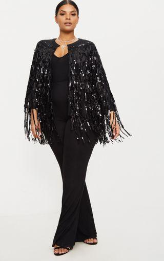 Plus Black Sequin Fringed Jacket | Plus Size | PrettyLittleThing U