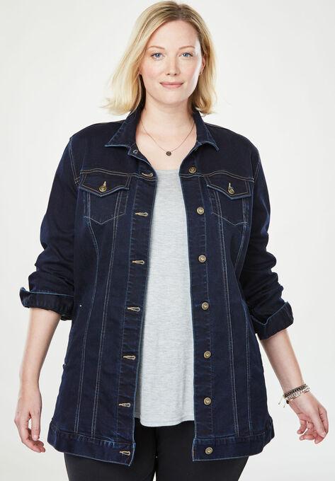 Long Stretch Denim Jacket| Plus Size Jackets | Woman With