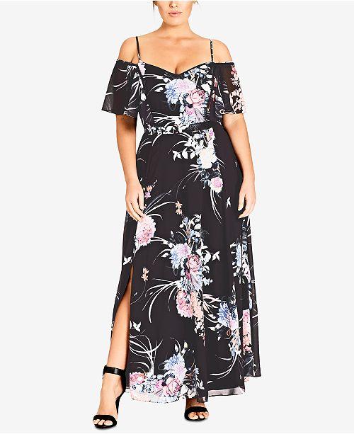 City Chic Trendy Plus Size Printed Cold-Shoulder Maxi Dress .