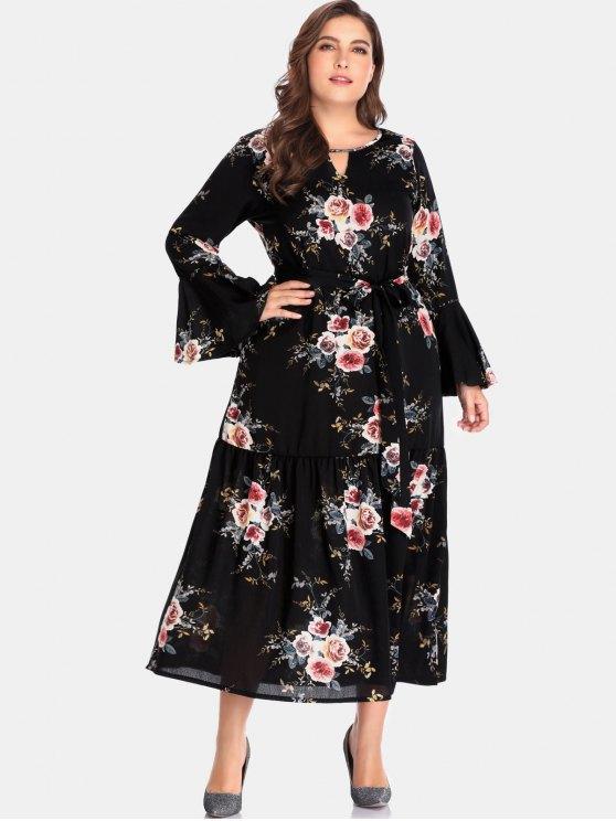 25% OFF] 2020 Floral Cutout Plus Size Maxi Dress In BLACK   ZAFUL .