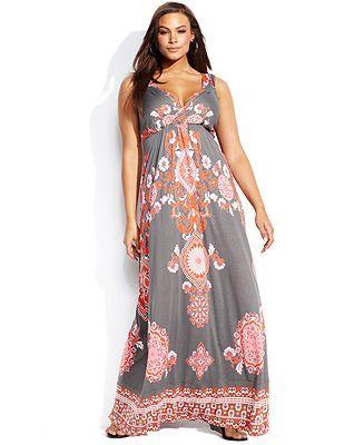 INC International Concepts Plus Size Sleeveless Printed Maxi Dress .