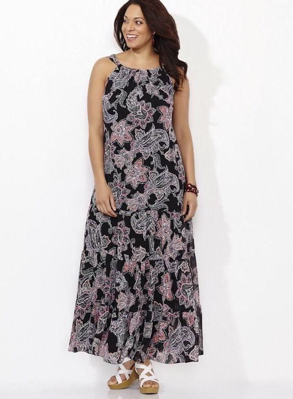 CATHERINES FLORAL DELIGHT MAXI DRESS - PLUS SIZE 5X (34/36W .