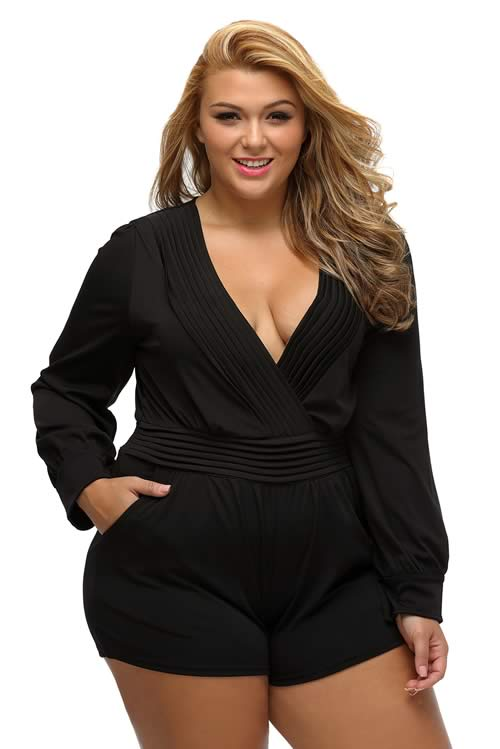 Plus Size Pleated Wrapped Front Long Sleeve Romper in Bla