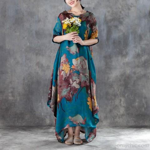 2018 long chiffon dress sundress plus size Casual Short Sleeve Two .
