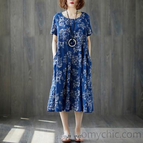 fashion long cotton linen dresses plus size Women Summer Blue .