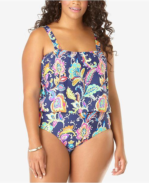 Anne Cole Plus Size Paisley-Print One-Piece Blouson Swimsuit .