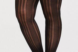 Plus Size - Black Stripe Footless Tights - Torr