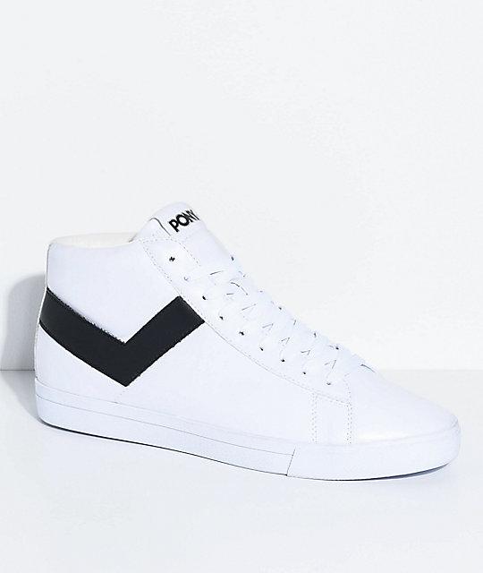PONY Topstar Hi White & Black Shoes   Zumi
