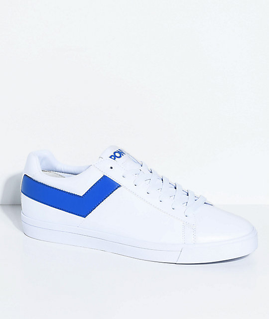 PONY Topstar Lo White & Royal Blue Shoes   Zumi