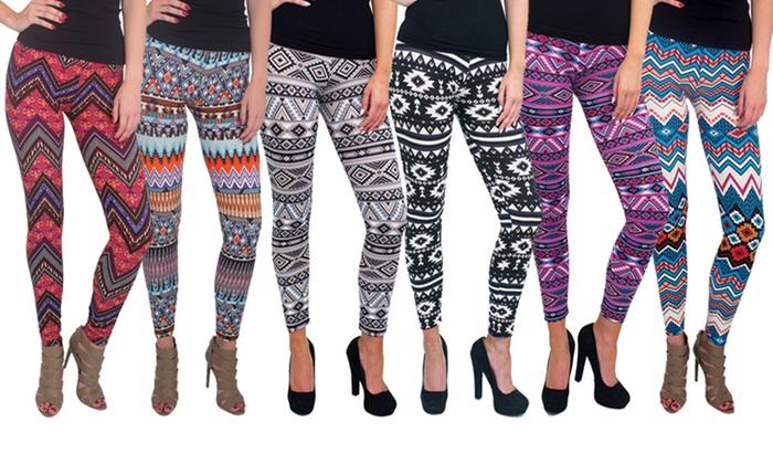 Women's Printed Leggings (6-Pk.)   Groupon Goo