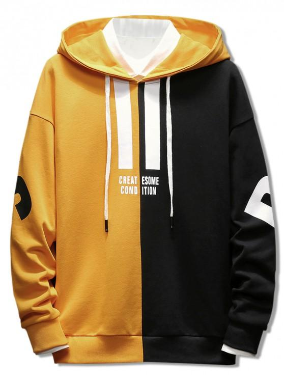 51% OFF] 2020 Contrast Color Letter Pullover Hoodie In BRIGHT .