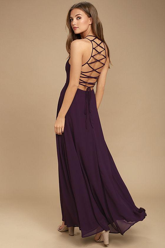 Purple Dress - Lace-Up Dress - Backless Dress - Maxi Dre