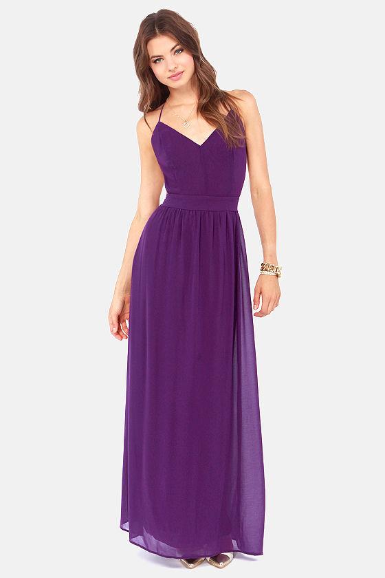 Sexy Backless Dress - Purple Dress - Maxi Dress - $49.