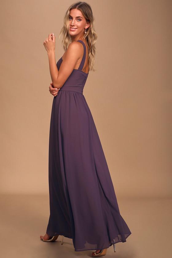 Beautiful Dusty Purple Dress - Maxi Dress - Halter Dre
