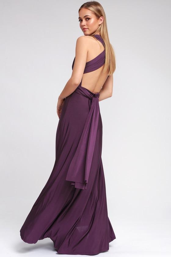 Always Stunning Convertible Purple Maxi Dress   Purple cocktail .