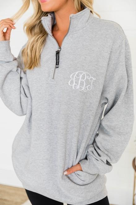 Monogrammed Heather Grey Crosswind Quarter Zip Sweatshirt - Pink Li