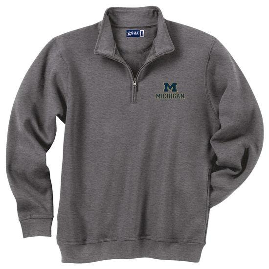 Gear University of Michigan Charcoal Gray 1/4 Zip Sweatshi