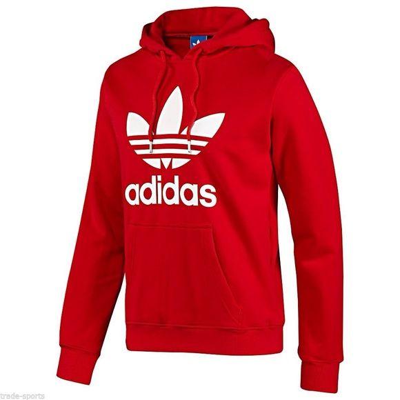 Unisex) Adidas - Red Cotton Polyester Hoodie   Red adidas, Adidas .