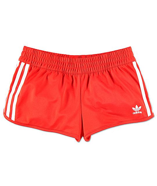 adidas 3 Stripe Red Track Shorts   Zumi