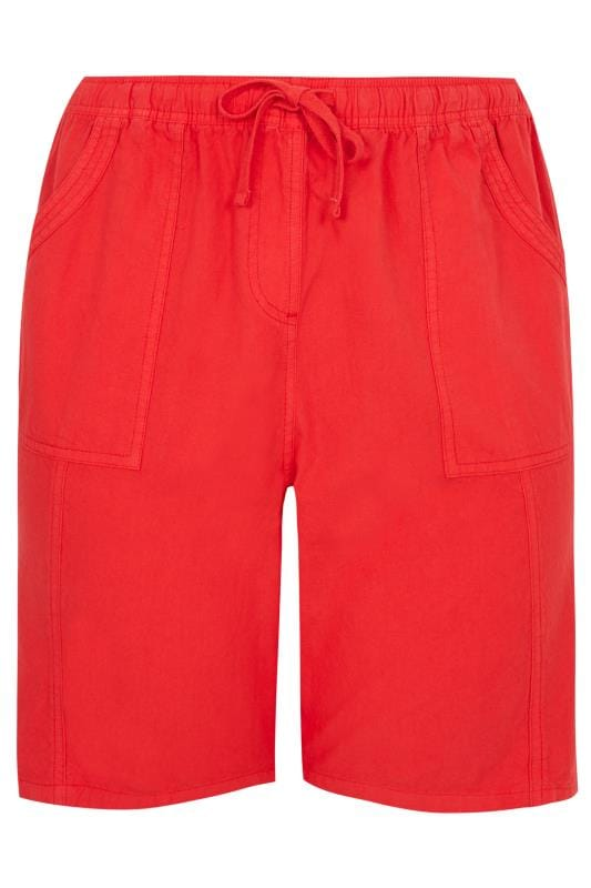 Red Cool Cotton Pull On Shorts   Sizes 16 to 36   Yours Clothi