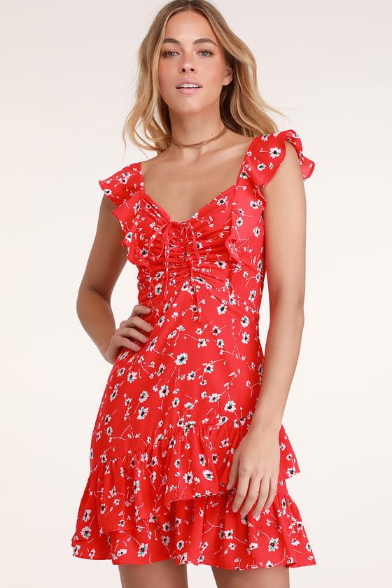 Cute Red Dress - Floral Print Dress - Ruffled Dress - Day Dre