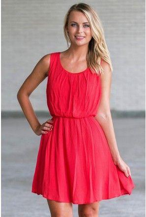 cute red sundress, red summer dress | Red sundress, Red summer .
