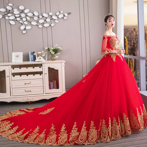 Chinese style Red Wedding Dresses 2019 Ball Gown Off-The .