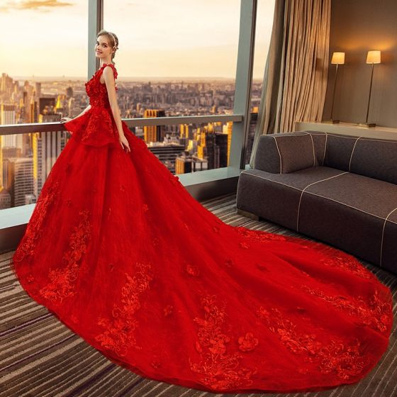 Luxury / Gorgeous Red Wedding Dresses 2018 Ball Gown .