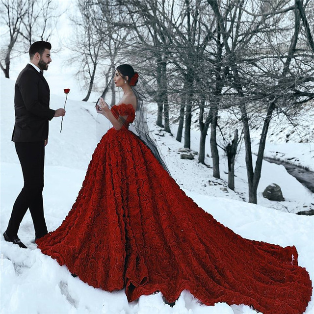 Luxury Floral Red Wedding Dress Plunging Neckline Back See Through .