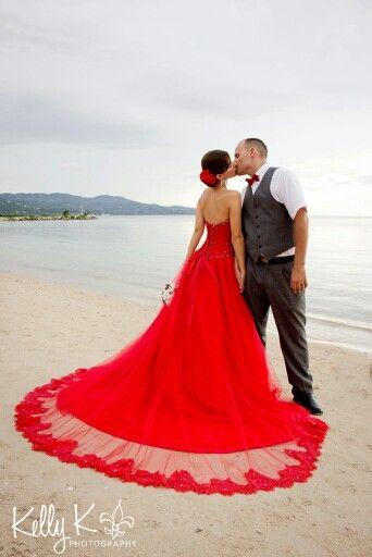 Destination wedding, Jamaica, Montego Bay, red wedding dress, red .