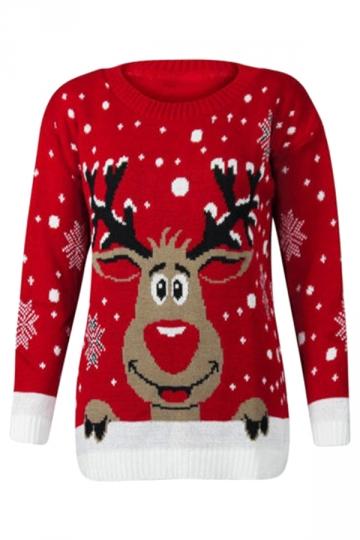 Long Sleeve Snowflake Cute Reindeer Ugly Christmas Sweater Red .
