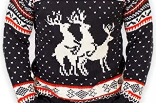 Festified Ugly Christmas Sweater - Reindeer Threesome Sweater at .