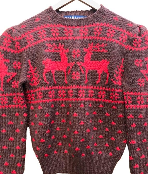 Ralph Lauren Reindeer sweater Hand Knit Wool Sweater in brown | Et
