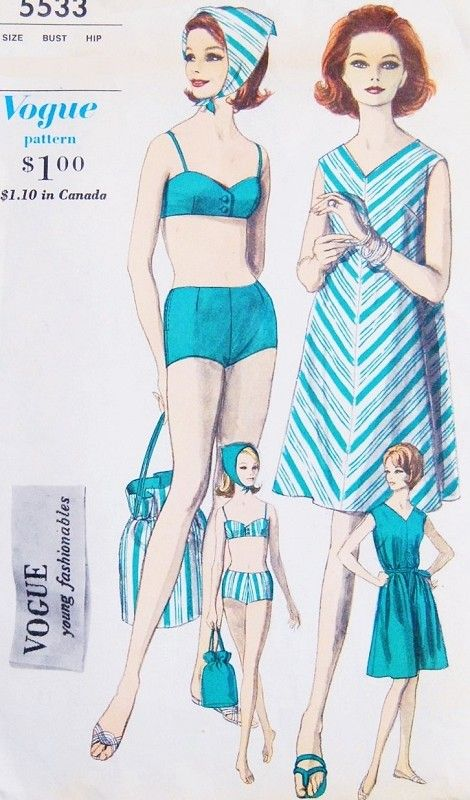 1960s Beach Resort Wear Pattern Vogue Young Fashionables 5533 .