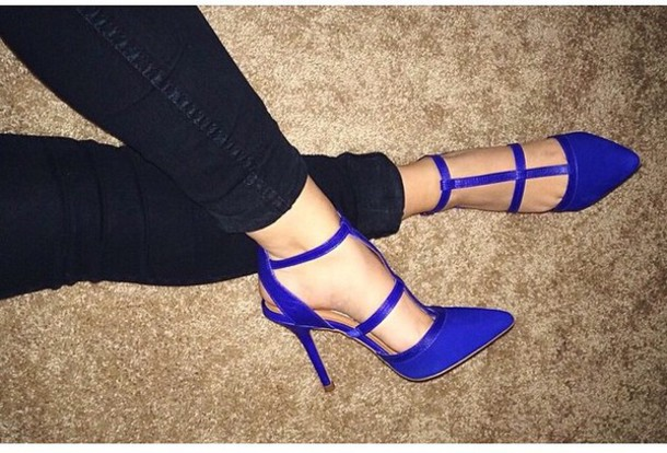 shoes, blue pumps, pointed toe, royal blue, high heel sandals .