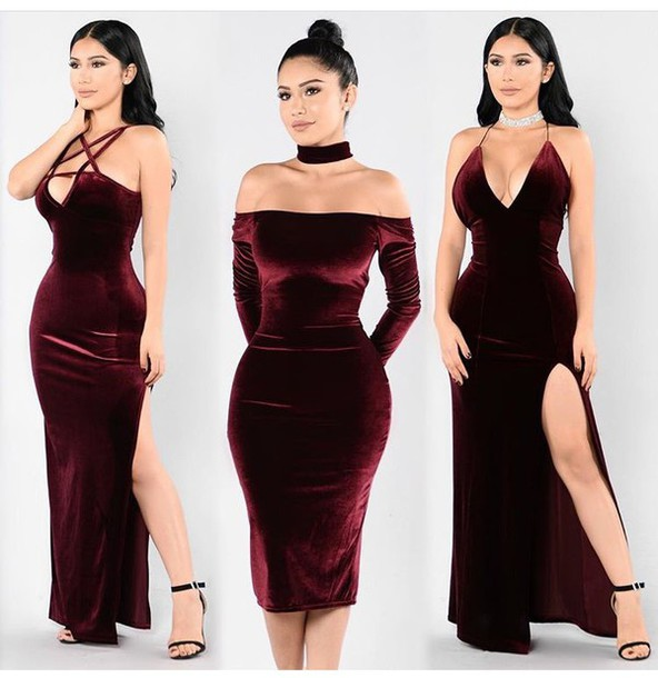 dress, velvet, velvet dress, burgundy, burgundy dress, special .