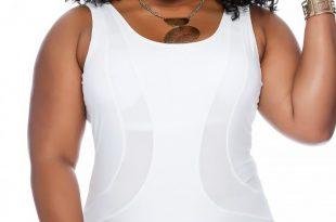 Sexy White Padded Mesh Cut Out Plus Size Swimsu