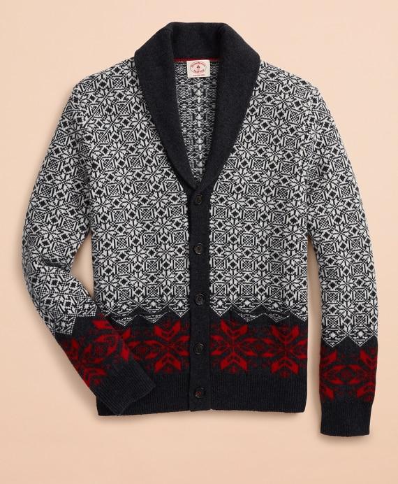 Nordic-Pattern Shawl-Collar Cardigan - Brooks Brothe