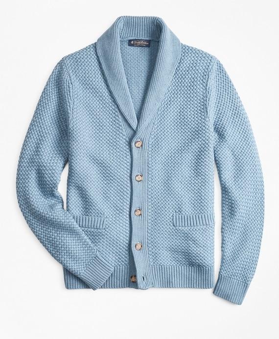 Basket Stitch Shawl Collar Cardigan - Brooks Brothe