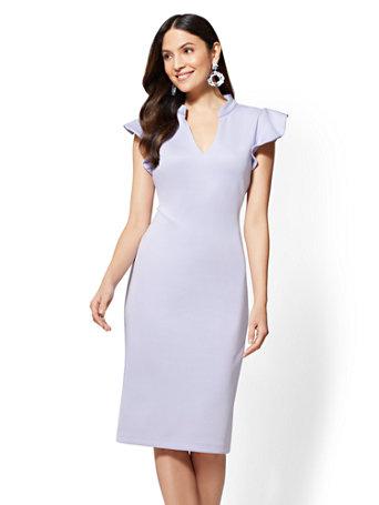 NY&C: Ruffled-Sleeve Sheath Dress - 7th Aven