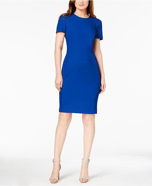 Calvin Klein Seamed Scuba Crepe Sheath Dress & Reviews - Dresses .